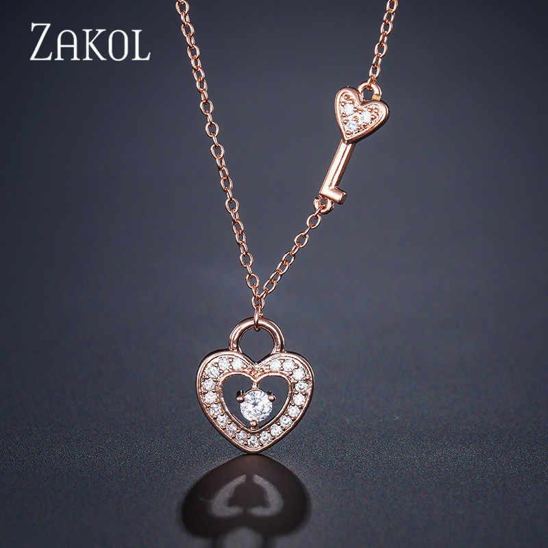 ZAKOL romantyczny cyrkonia wisiorek w kształcie serca naszyjnik dla kobiet wesele kolacja rocznica urodziny prezent biżuteria FSNP2045