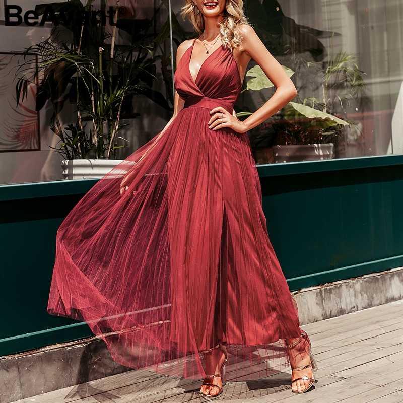 BeAvant элегантное розовое летнее кружевное платье, женское вечернее сексуальное Клубное платье для вечеринки, Дамское Сетчатое платье с v-образным вырезом и высокой талией, женское платье 2019