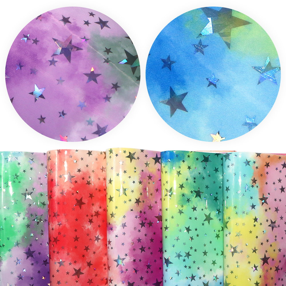 20*33cm Laser Starfish Tie-Dye Smooth Faux Leather Vinyl Fabric Synthetic Leather For DIY Handmade Bows Earrings Crafts,1Yc11063