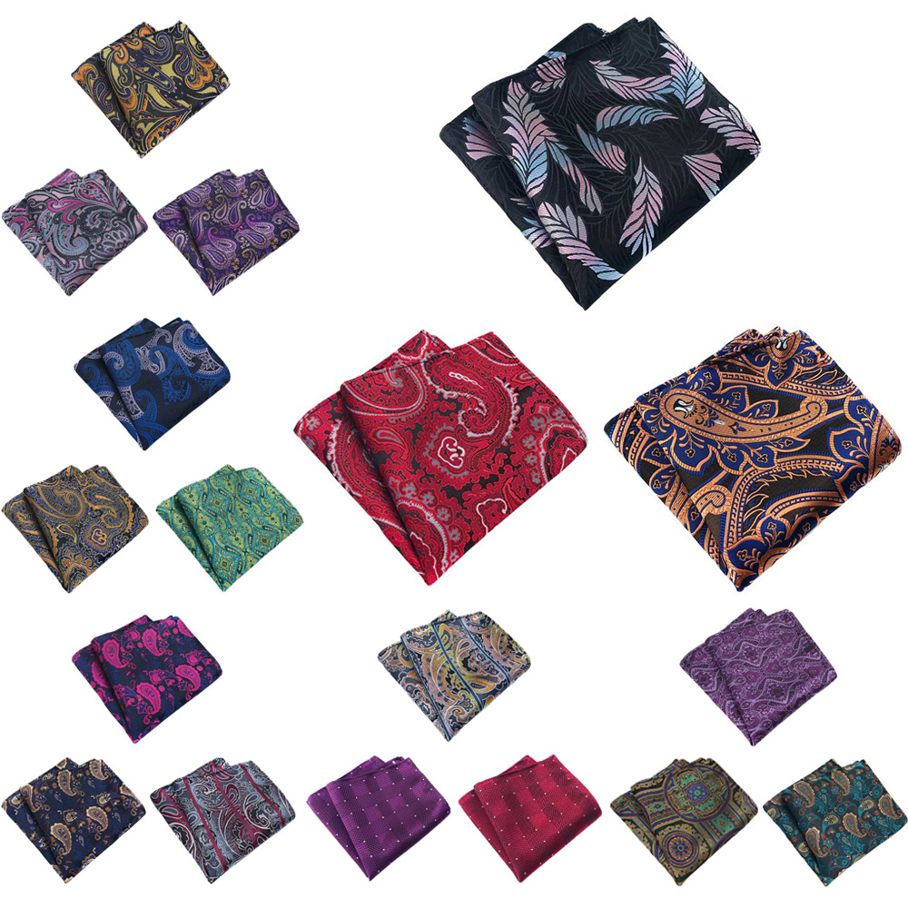 3 Packs Mens Fashion Paisley Floral Pocket Square Handkerchief Wedding Hanky HZTIE0361