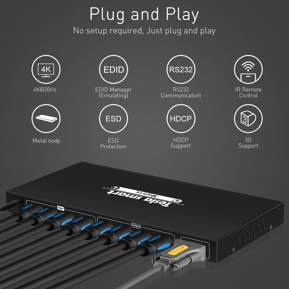 TESmart Matrix Switcher 4K HDMI Ultra HD 4 Inputs and 4 Port Outputs with RS232 IR Remote Control HDMI 1.4 Compatible Supports 4Kx2K @ 30HZ HDCP 3D /& Deep Color