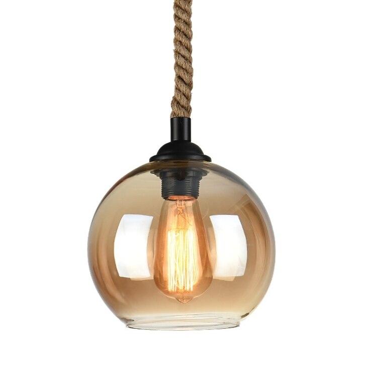 Loft Industrial Glass Ball Hemp Rope Pendant Lighting Lights Ceiling Fixtures Chandeliers Ceiling Fixtures Home Garden Pumpenscout De