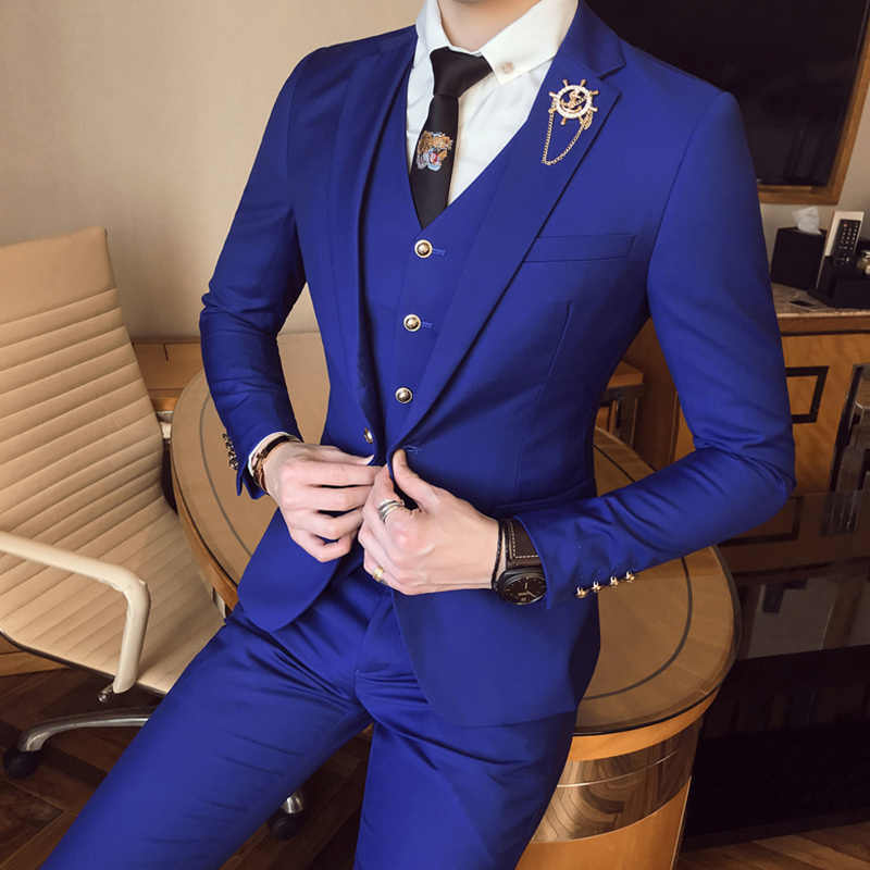 Men Suits for Wedding ( Jacket + Vest+Pants) Groom Prom male tuxedo Gold Buttons Royal blue Slim Fit suits Set Costume homme