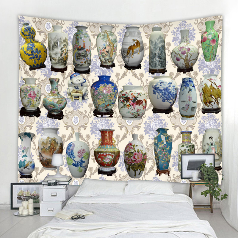 Earthen jar Tapestry Glowing Psychedelic Wall Hanging Anime Wolf Tapestry Boho Home Decor Art Wall Cloth Fabric Large Size in Tapestry from Home Garden