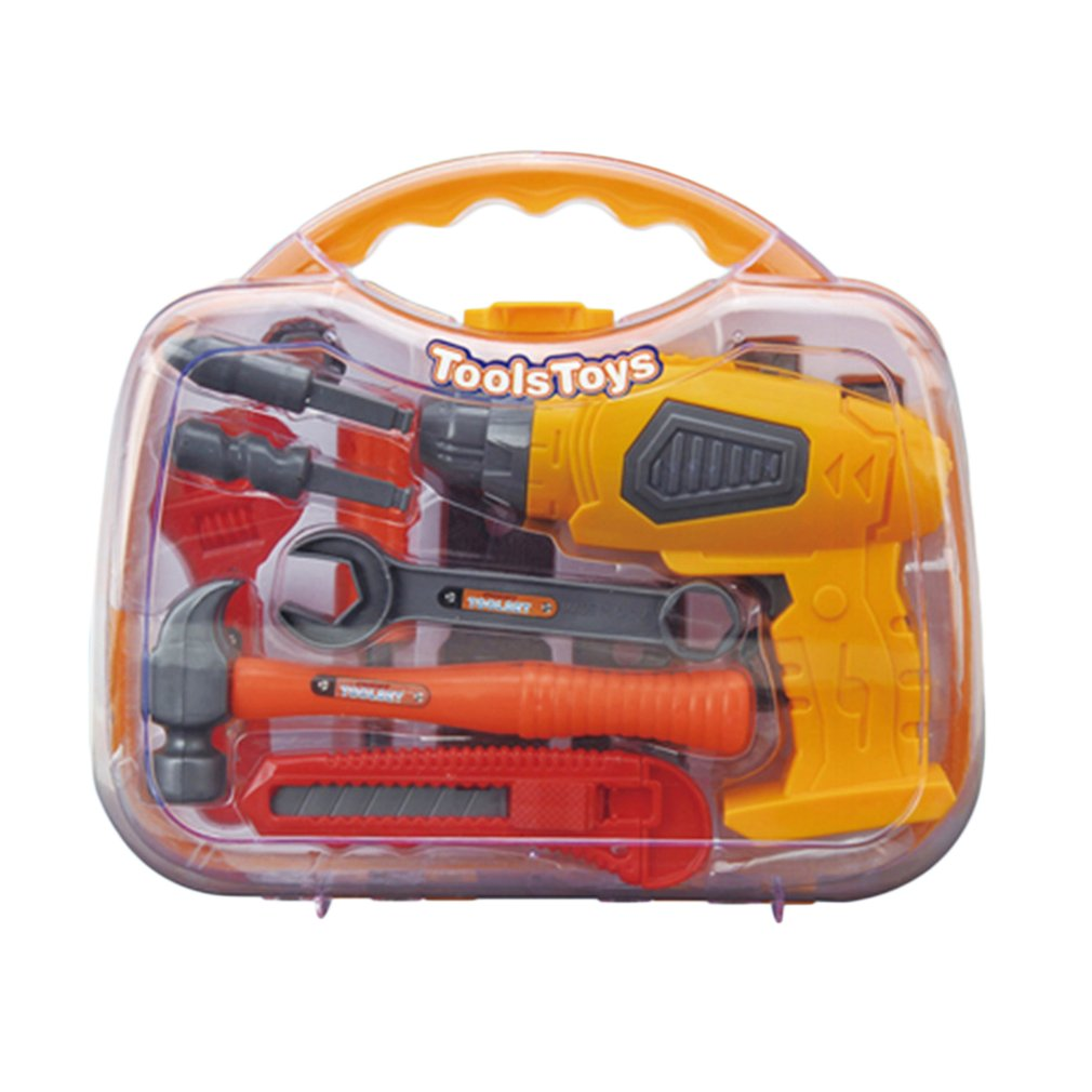 New! Portable Tools Box Simulation Electric Drill Screwdriver Tools Repair Kit Safety DIY Educational Tool Toys For Children