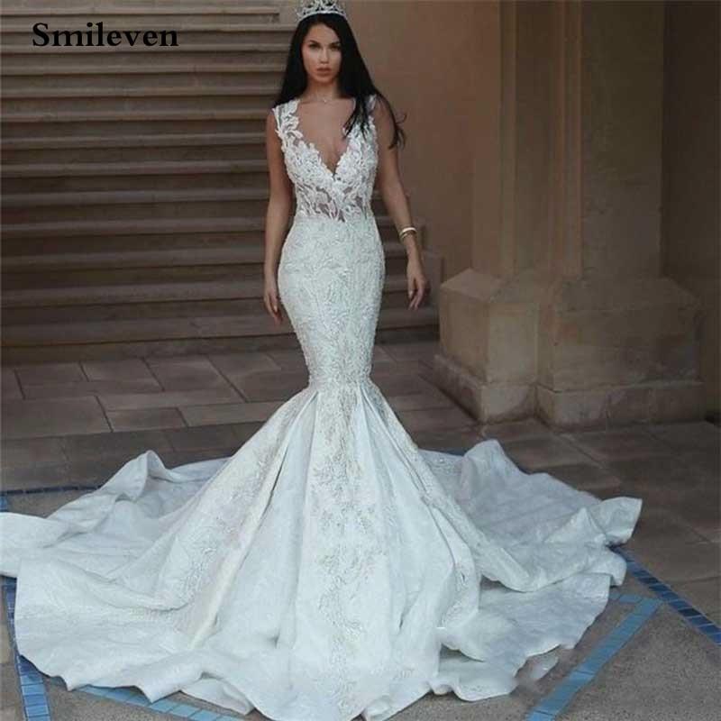 Smileven Dubai Mermaid Wedding Dresses Satin Sexy V Neck Lace Bride Dress 2020 Custom Made Sleeveless Wedding Gowns
