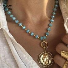 Tocona-collar con colgante de moneda Punk para mujer, cuentas, gargantilla de cadena de Metal de aleación de Color dorado, regalo de joyas de fiesta 15325