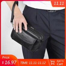 Bolso de mano de cuero genuino para hombre, cartera de mano masculina, larga, BILLETERA, bolsa del teléfono móvil, monedero de fiesta