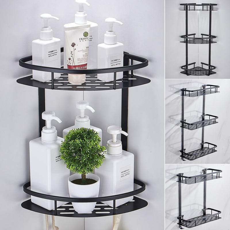 Bathroom Triangle Shelf Black Space Aluminum Fan-shaped Net Basket Bathroom Pendant Bathroom Shelf