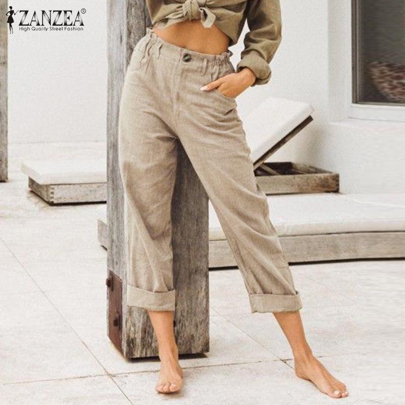ZANZEA Women Straight Pants Cotton Solid Zipper Elastic Waist Casual Long  Streetwear Pockets Pantalones Bottoms Femme Plus Size