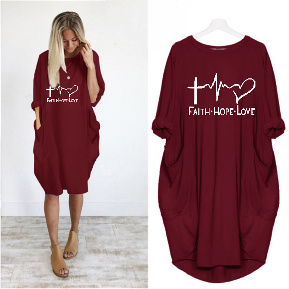 Plus Size Women Dress Electrocardiogram Printing Pockets Baggy Loose Dress Oversized Vintage Casual Ladies Clothes Ropa Mujer