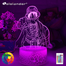 Newest Anime ONE PIECE Luffy Figure Kids Night Light Led Color Changing Atmosphere for Child Bedroom Bedside Decor Desk Lamps cheap Sololandor CN(Origin) AYG02-NN-779 Night Lights Plastic LED Bulbs Switch Dry Battery HOLIDAY 0-5W 7 Colors Change Wholesale Price