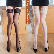 Women's Sexy Stocking Lace Fish Net Thigh High Knee Socks Pantyhose Silicone Non-slip