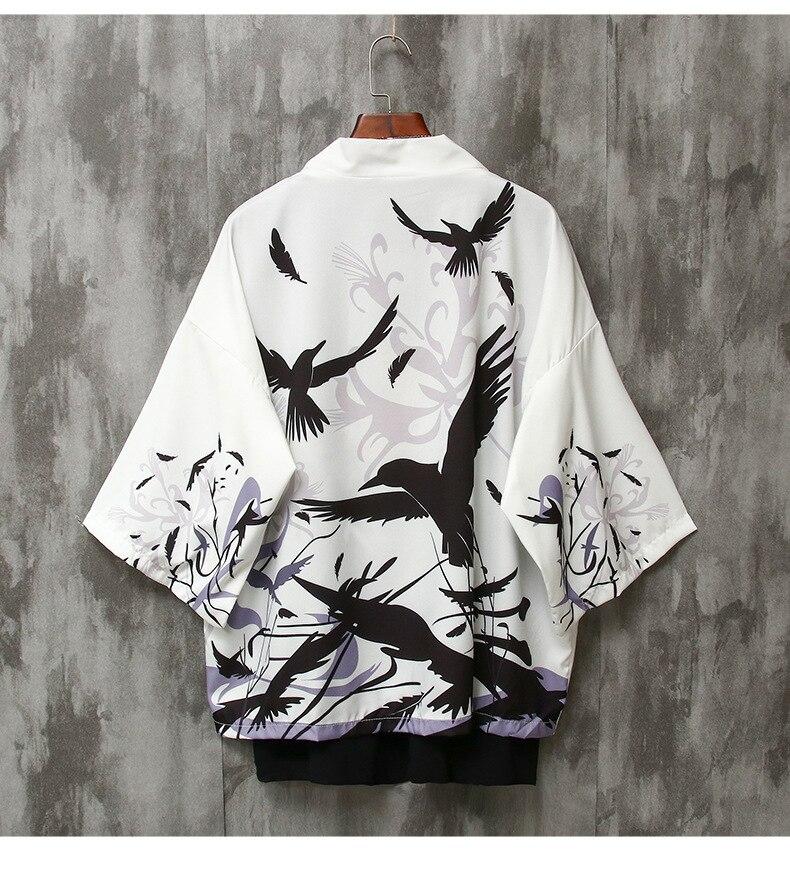 Summer Japanese Crane Print Kimono Yukata Couples Crane Pattern Haori Unisex