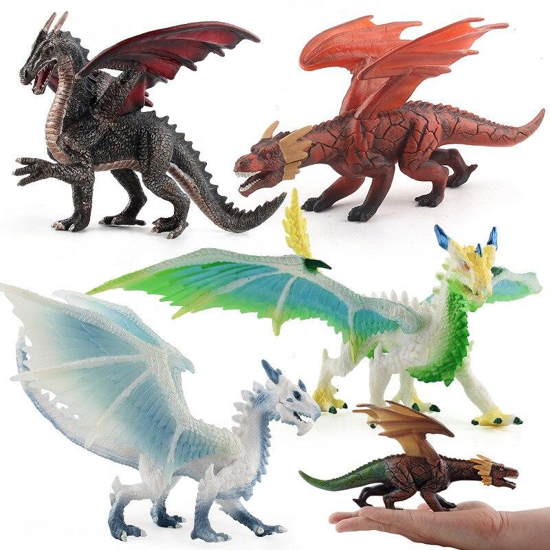 22cm Kneeling Movable Dragon Ice Snow Dragon Model Ornaments Stereo Simulation Dinosaur Model Christmas Children's Toys JM317