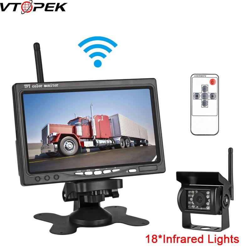 Câmera sem fio do caminhão 7 polegada 18 luzes infravermelhas visão noturna para caminhões ônibus rv monitor do carro imagem reversa 12-24v câmera de visão traseira