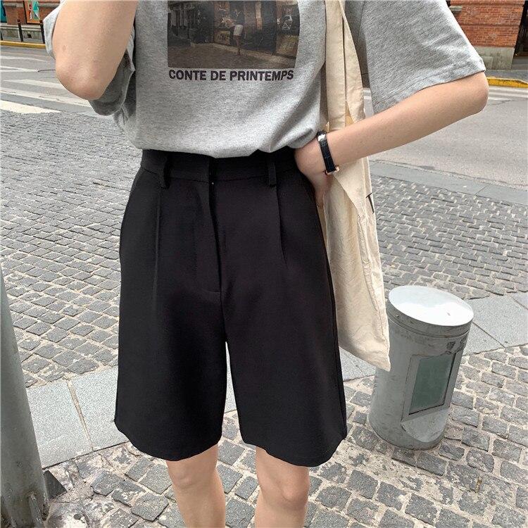 H765603dea5e049159df43eee2f8ac0d33 - Summer High Waist Wide Leg Loose Solid Shorts