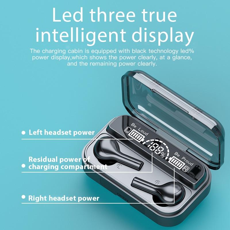 TWS Bluetooth Earphones Wireless earphone 2200mAh Charging Box Waterproof Digital display Earbuds Headsets With Microphon F9 4