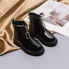 2019 Autumn New Fashion Girl Shoes Kids Children Martin Boots Rain Antiskid Bright Zipper Breathable Leather