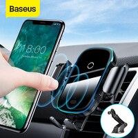 Baseus carregador de carro sem fio para iphone xs max xr x 8 mais luz elétrica 2 em 1 carregador sem fio 15w suporte do carro para huawei p30pro