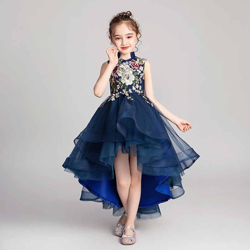 Mingli Tengda Blue Flower Girl Dress Excellent Princess High Low Children Dress Wine Red Appliqued Comunion Kids Dresses