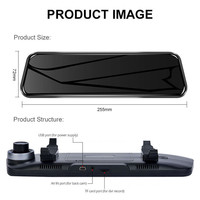 10 inch Car DVR Rearview Mirror Dash Cam Camera Video Auto Driving Recorder 1080P 16:9 LCD 170 DVR Mirror 2 Camera Lens