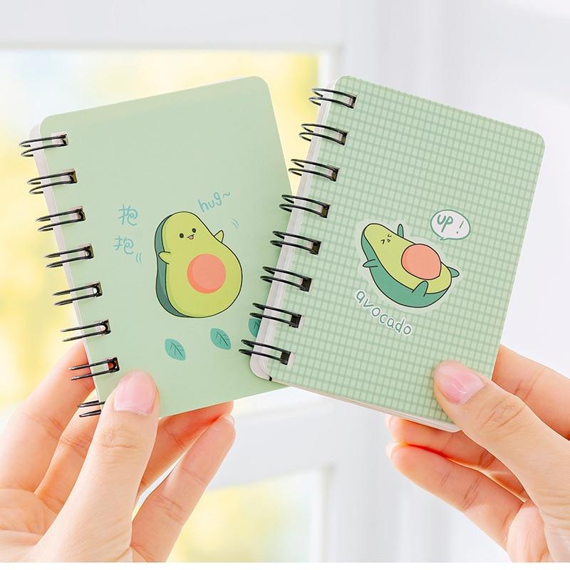 Cute Avocado Print Coil Notebook Mini Pocket Portable Memo Pad Kawaii Green Small Notepad