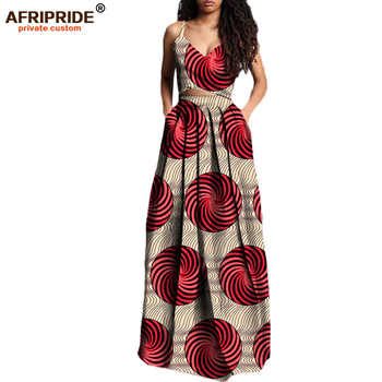 2019 summer suit for women AFRIPRIDE private custom short sleeveless top+long pleated skirt plus size pure wax cotton A722629 - DISCOUNT ITEM  17% OFF All Category