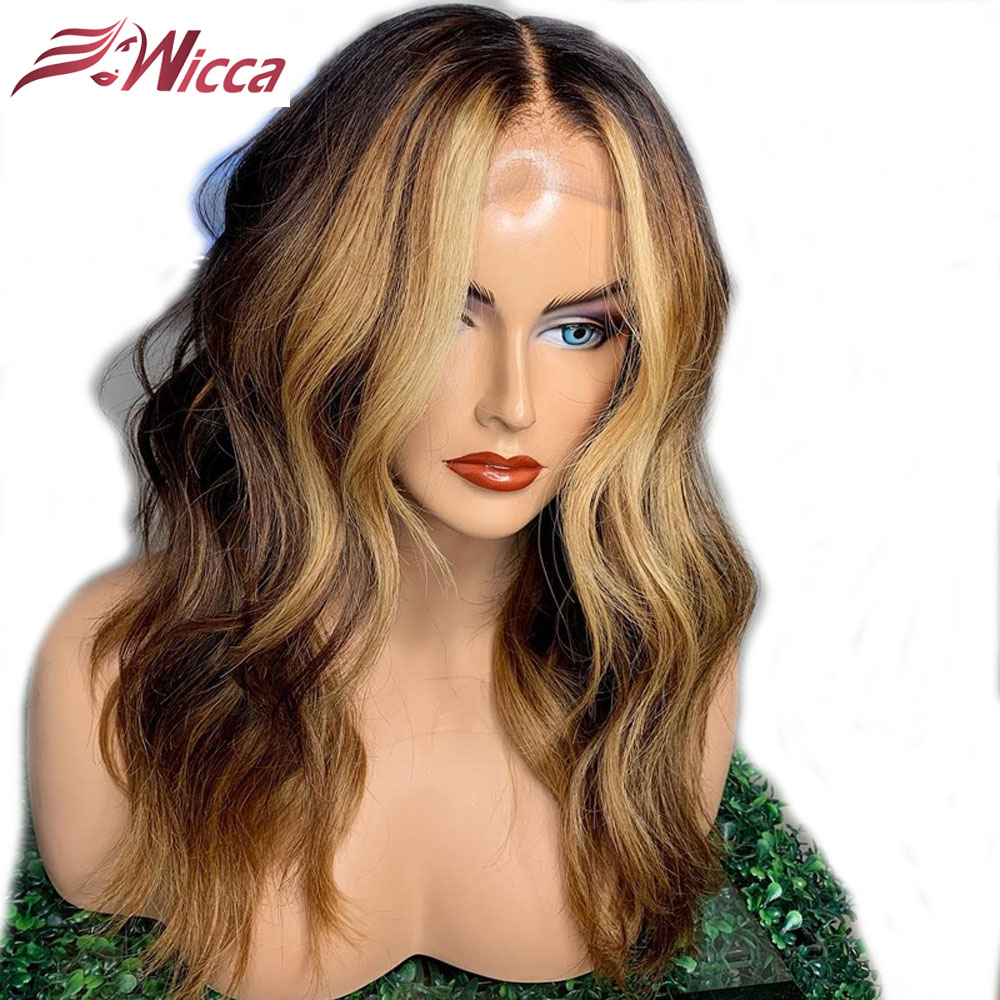Wicca Highlights Human Hair 13*6 Lace Frontal Wig 8-24inch Brazilian Remy Wavy Lace Front Human Hair Wigs