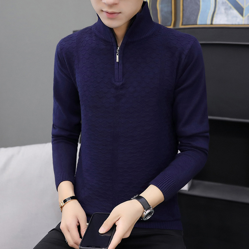 Mens Sweaters Solid Color Sweater Men Leisure Half Zipper Winter Sweater Simple Zipper Distressed Sweater Turtleneck Casual