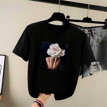 2020 SUMMER New Harajuku Aesthetics t shirt Sexy Flowers Feather Print Short Sleeve Tops & Tees Fashion Casual Couple t shirt ползунки детские веселый малыш one цвет розовый 33140 one сказочный лес размер 74