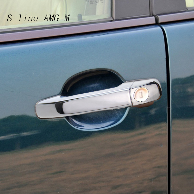 Car Styling For <font><b>Mercedes</b></font> <font><b>Benz</b></font> C E GLK ML Class <font><b>W210</b></font> W202 W208 W163 Outer Door Bowl Handle Stickers protection Covers <font><b>Accessories</b></font> image