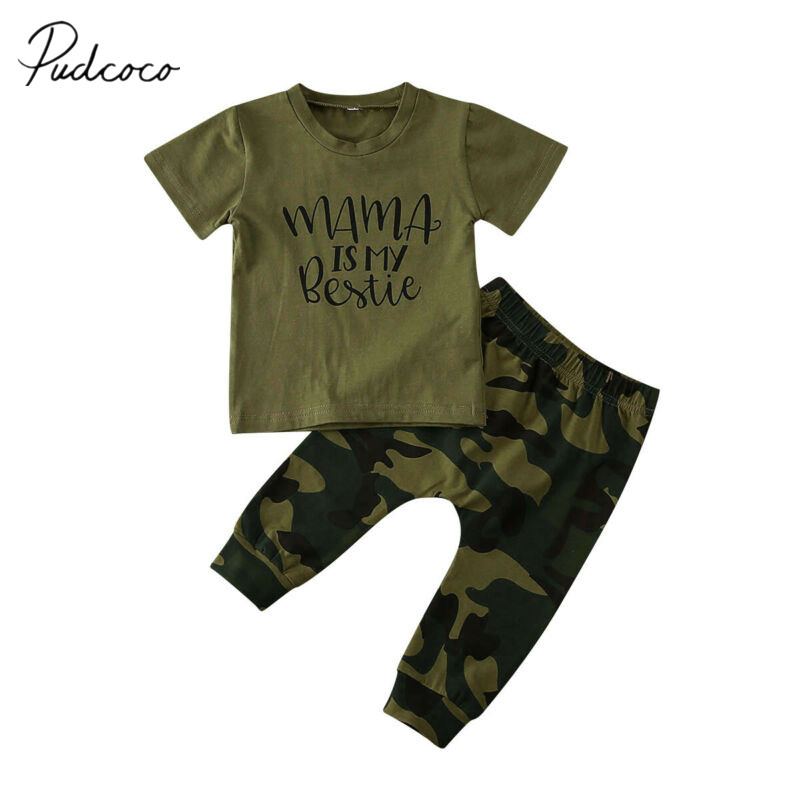 2pcs Boys Girls Tops Camouflage Pants Family Clothes Set Parent-Child Dress