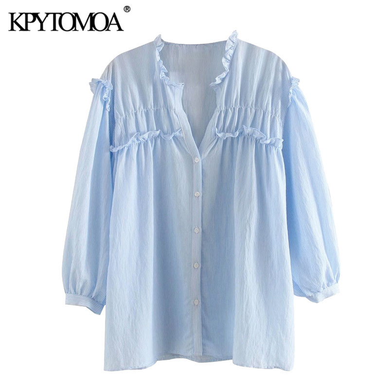 KPYTOMOA Women 2020 Sweet Fashion Striped Ruffled Blouses Vintage V Neck Three Quarter Sleeve Female Shirts Blusas Chic Tops