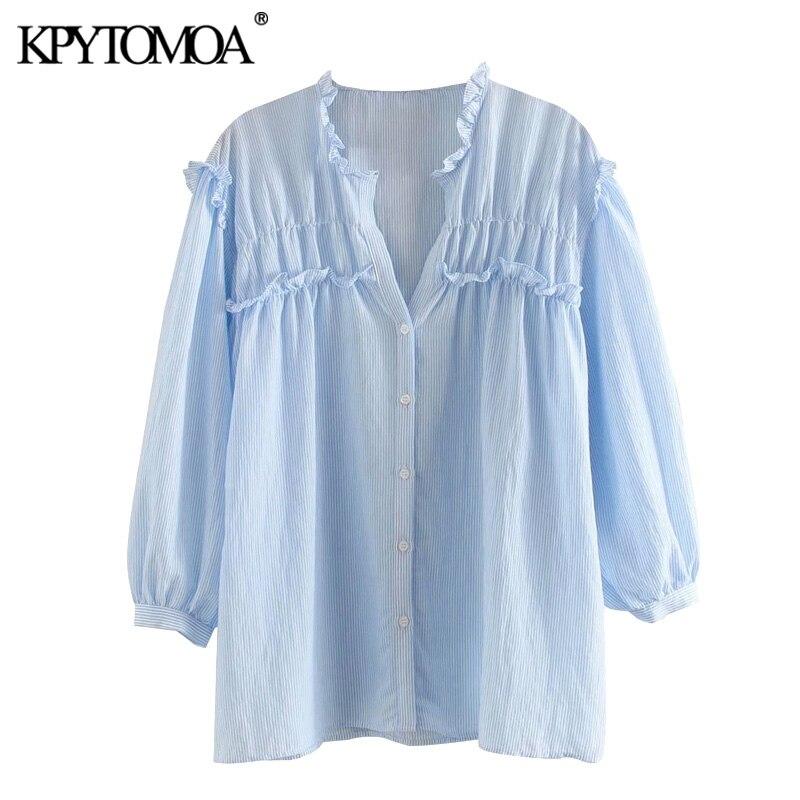 KPYTOMOA Women 2020 Sweet Fashion Striped Ruffled Blouses Vintage V Neck Three Quarter Sleeve Female Shirts Blusas Chic Tops