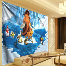 Anime 3D Wall Tapestry Shark Wall Hanging Sea Animal Brick Wall Landscape Wall Carpet Yoga Mat Home Decor Tapestry Blue 300CM