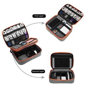 Image 5 - Doppio Strato di Accessori Elettronici Addensare Cavo sacchetto di Immagazzinaggio Portatile di Caso per i Pad mini,Hard Disk, Cavi, carica, Kindle,