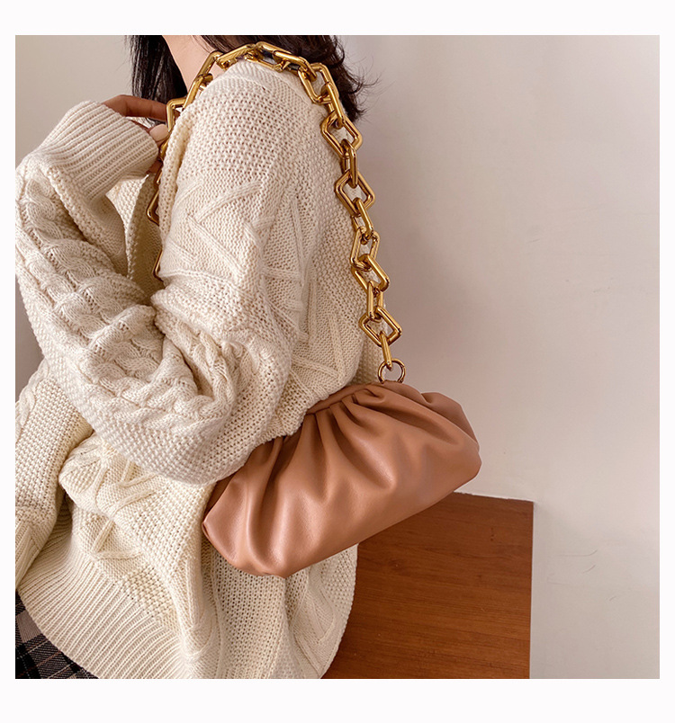 H76574aa960654929804f69738ec6f0e36 - Women's Personality Thick Chain Soft Leather Cloud Bag Casual Wild Shoulder Bag Party Evening Clutch Bag Fashion Dumplings Bag