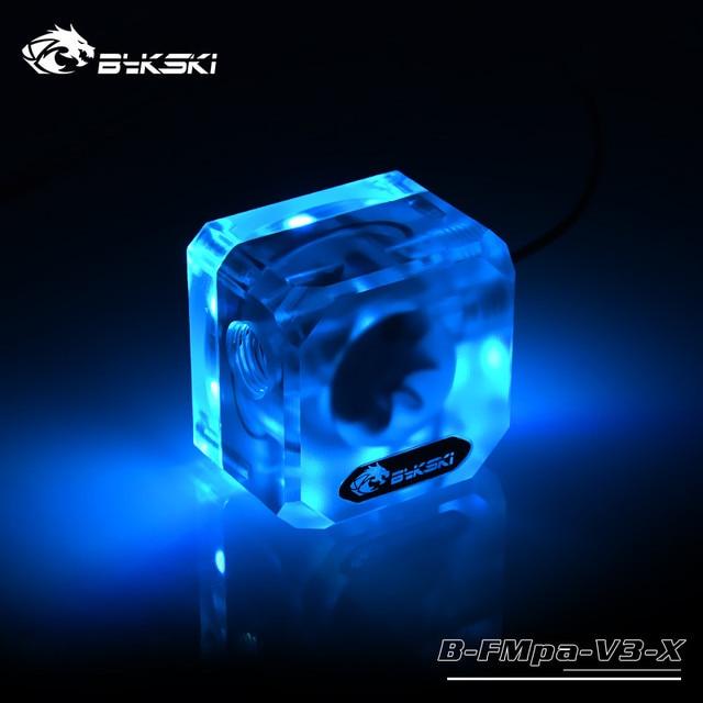 Bykski B-FMpa-V3-X débitmètre de refroidissement par eau Transparent acrylique G1/4 RBW 5V AURA système déclairage