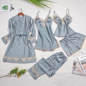 Image 3 - 2019 Silk Pajamas for Women Autumn Winter Pyjamas Satin Sleepwear V Neck Lace Nightwear 5 Piece Sets Pijama Chest Pads