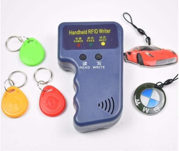Copiadora RFID de mano de 125 khz/duplicador/Cloner ID EM lector y escritor y 5 uds EM4305 T5577 Etiqueta de reescritura 125KHz RFID duplicador copiadora escritor programador lector escritor Tarjeta de Identificación Cloner & key