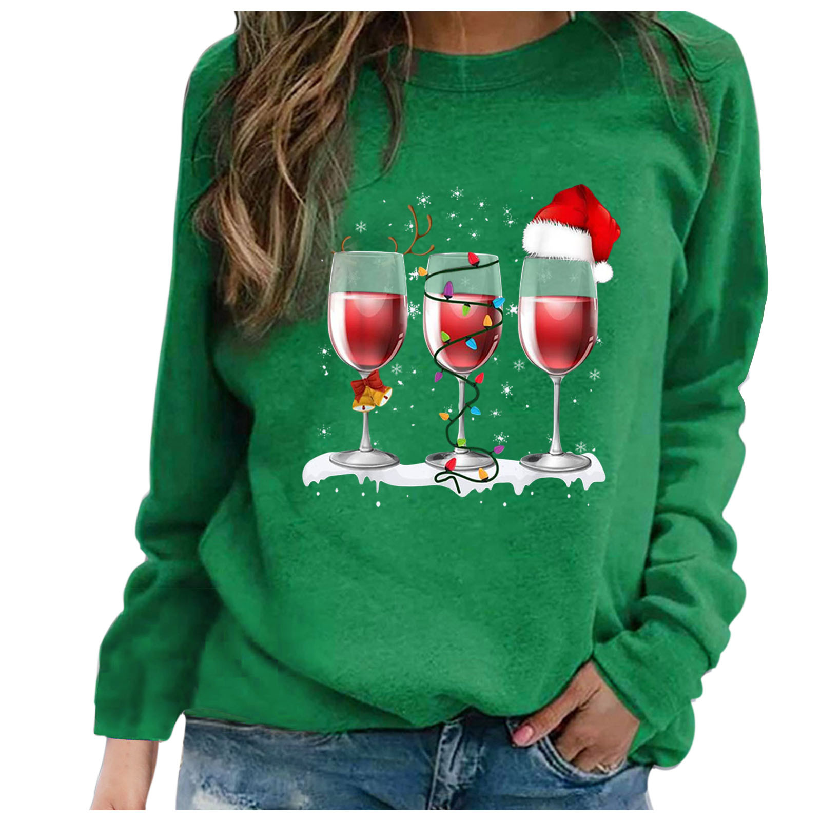 4# 2020 Fashion Christmas Women's Sweaters Christmas Print Long sleeved Sweaters Casual Top Loose Sweaters Pullover Female