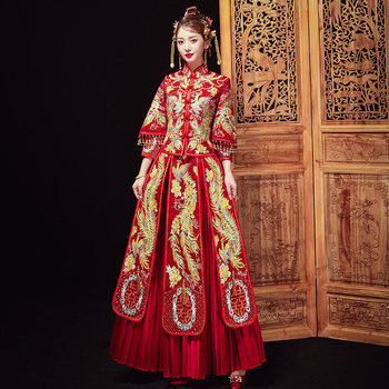 Vintage Red Cheongsam Modern Chinese Traditional Wedding Dress Women Vestido Oriental Collars Elegent Long Qi Pao Size S-XL