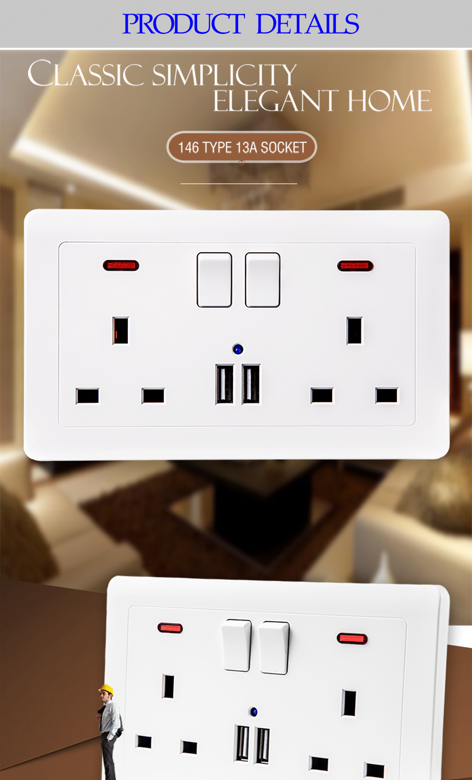 Free shipping UK Dual Usb Charger Double 2 Gang Plug Electric Wall Socket Switched Square Edge 13 Amp USB Port Socket Home Use