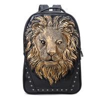 Fashion Backpack Women Backpacks Men Backpack Famale 3D Printing Lion Rivet Backpacks Women School Bags For Teenagers Travel Bag