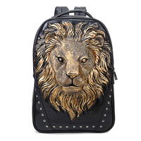 Fashion Backpack Women Backpacks Men Backpack Famale 3D Printing Lion Rivet Backpacks Women School Bags For Teenagers Travel Bag