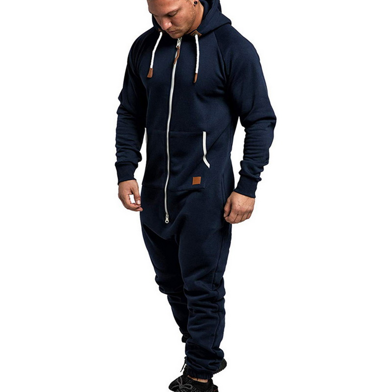 Hoodies Streetwear Solid Color Splicing Jumpsuits Long Sleeve Male Clothes Overalls Men's Jumpsuits One-piece Garment Pajama