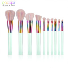 Docolor 10PCS Makeup Brushes Set Powder Foundation Eye Shadow Blush Blending Cosmetics Beauty Make Up Brush with Bag Tool Kits цены онлайн