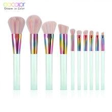цены Docolor 10PCS Makeup Brushes Set Powder Foundation Eye Shadow Blush Blending Cosmetics Beauty Make Up Brush with Bag Tool Kits
