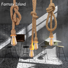 Hemp Rope Pendant Lights Vintage Retro Loft Industrial Hanging Lamp For Living Room Kitchen Home Light Fixtures Decor Luminaire vintage wicker pendant lamp hand made knitted hemp rope iron coffee shop pendant lamps loft lamp american lamp free shipping